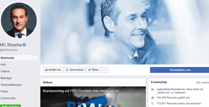 Facebook Seit von HC Strache